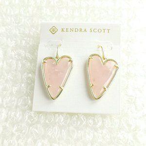 Ansley Heart Rose Quartz Gold Drop Earring NEW